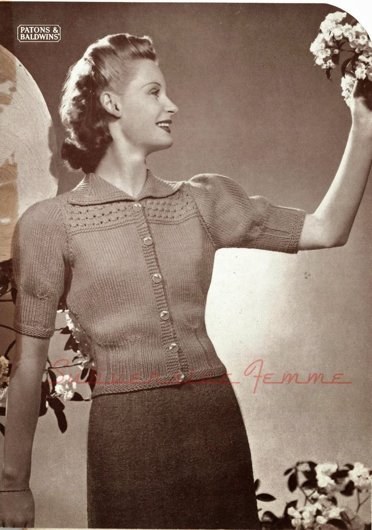 The   Vintage   Pattern   Files: 1930's Knitting - Noontide Jumper Cardigan