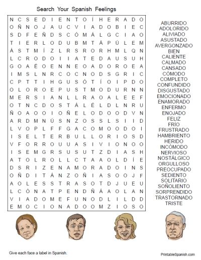 Printable Spanish FREEBIE of the Day: Search Your Spanish Feelings puzzle from PrintableSpanish.com