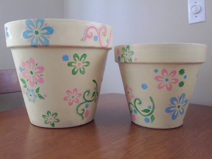 Painted flower pots! These are great gifts! Fun to make but time consuming.