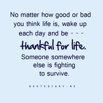 """""""No matter how good or bad you think life is, wake up each day and be... thankful for life. Someone somewhere else is fighting to survive.""""  (Plus many more life, love, friendship, & inspiring quotes!...Click here or see http://quotediary.me/page/1#)"""