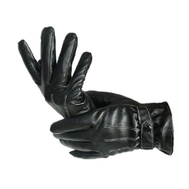 Winter Mens Luxurious PU Leather Winter Super Driving Warm Gloves Cashmere Men Waterproof Gloves Outdoor Gloves Gants Homme #036