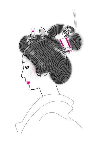 """Bunkin-takashimada"" ; 文金高島田 is a representative hair style in traditional Japanese wedding.  illustrated by Hiromi Tsuji http://hiromitsuji.hannnari.com/ #wedding #hairstyle #traditonal"
