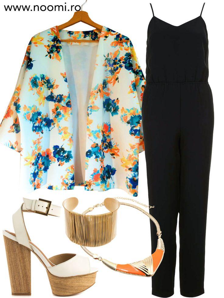 Tinuta de weekend cu blazer-ul kimono creat de Noomi, salopeta neagra si sandale cu talpa de lemn.