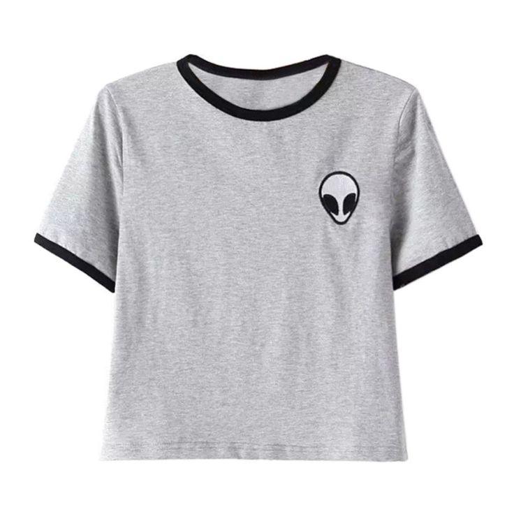 Women Hipster Harajuku Cute Stripe Short Sleeve Cotton Tshirts Crop Top Tee Alien Embroidery T Shirt