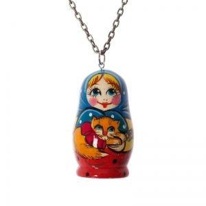 Handmade cat matryoshka necklace
