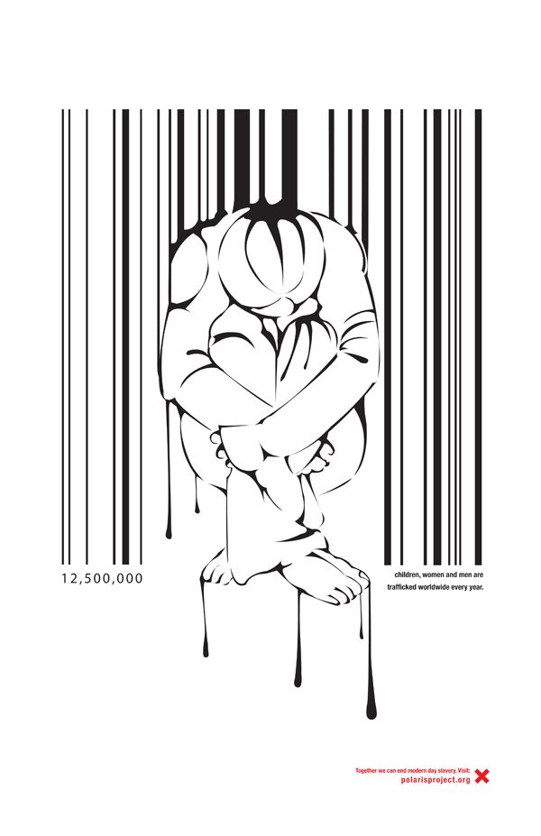 Heartbreaking Human Trafficking Campaign | This campaign illustrates the unfortunate treatment of victims involved in human trafficking as a number or profit, rather than fellow human beings. | Designer: Kristina Cancelmi | Image 3 of 6