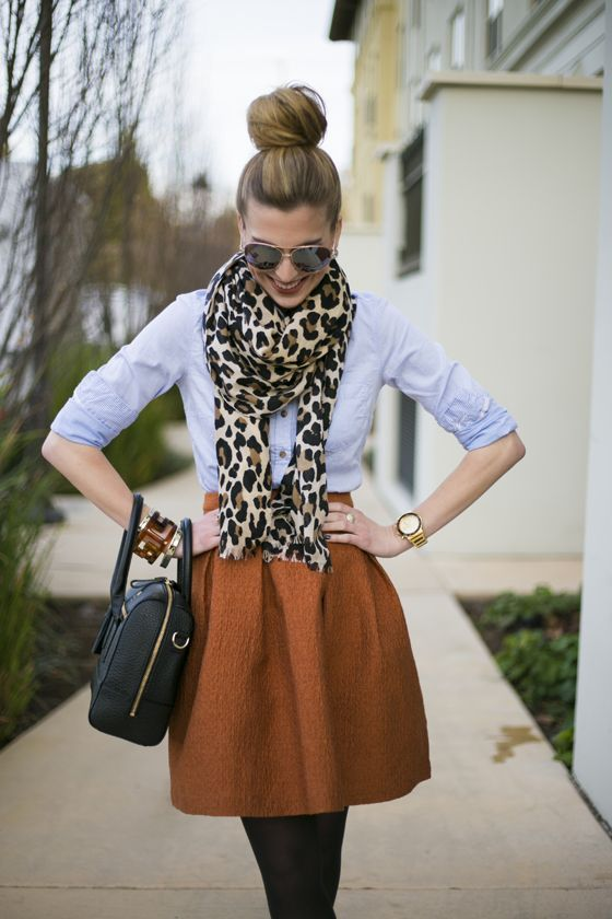 Just a Pretty Style: Street fashion burned orange skirt with leopard prints scarf