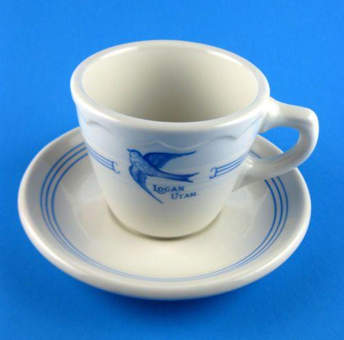 Vintage Bluebird Cafe Diner Restaurant Cup Saucer Logan Utah Syracuse China USA   eBay
