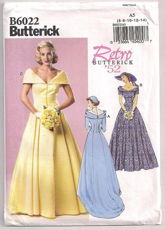 De heruitgave van de bruidsmeisjes jurk Butterick 6022, patroon, Retro 1952, trouwjurk, jurk met trein, Bias kraag, maat 6 8 10 12 14 © 2014  Grote 1952 heruitgegeven patroon voor de bruid, de matrone van eer of het bruidsmeisje. Weergave van de jurk heeft een Tule juk, terug knop en lus sluiting.  Envelop toont slijtage en kleine tranen.  Patroon is Onbesneden en in fabriek plooien.  Alle patronen zijn in Onbesneden & fabrieksinstellingen vouw, tenzij anders vermeld. Sommige patronen zal...