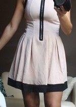 Sukienka rozkloszowana roz.XS pudrowy róż