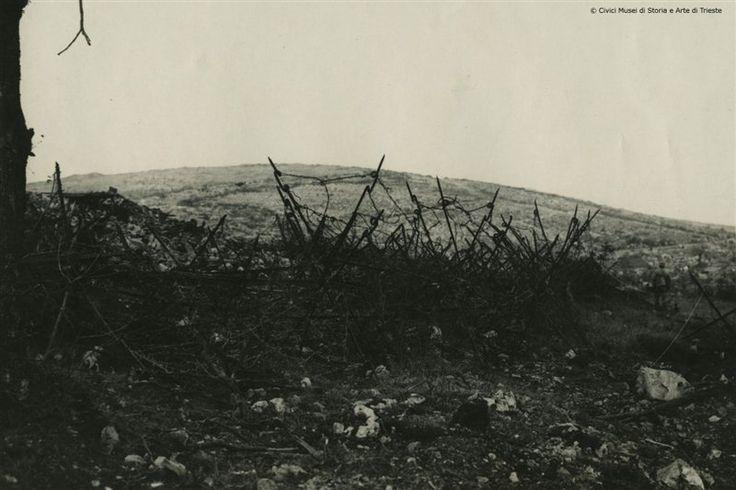 La trincea austriaca dell'Albero storto sul San Michele (14-8-16). Immagine del Monte San Michele durante la Sesta Battaglia dell'Isonzo