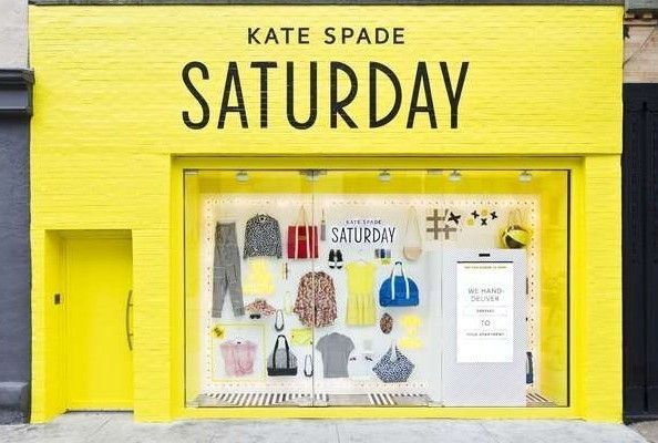 Kate Spade Saturday, NYC | Brightly Colored & Things Arranged Neatly Inspired Storefront Design
