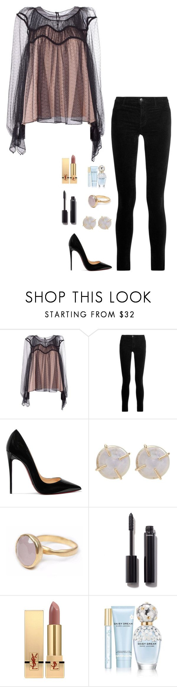 """Untitled #968"" by h1234l on Polyvore featuring Chloé, J Brand, Christian Louboutin, Melissa Joy Manning, Bohemia, Chanel, Yves Saint Laurent and Marc Jacobs"