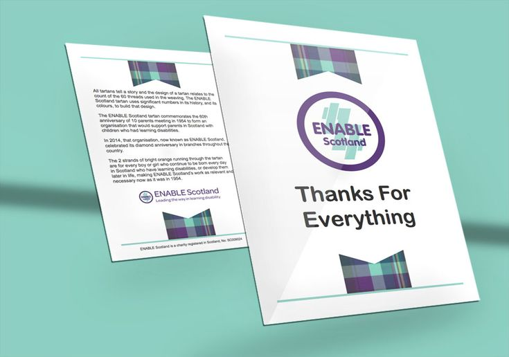 ENABLE THANK YOU CARD — Bi-fold leaflet design for ENABLE Scotland's Thank You Card to the Aberdeen branch as printouts. #graphicdesign #leaflets #thankyoucard #greetingcard #bifold #cards
