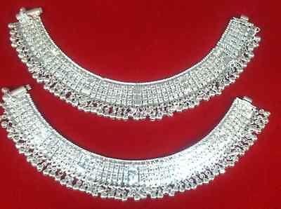 Gorgeous Indian Bollywood Bridal Silver Plated Anklet Jhanjar,Payal