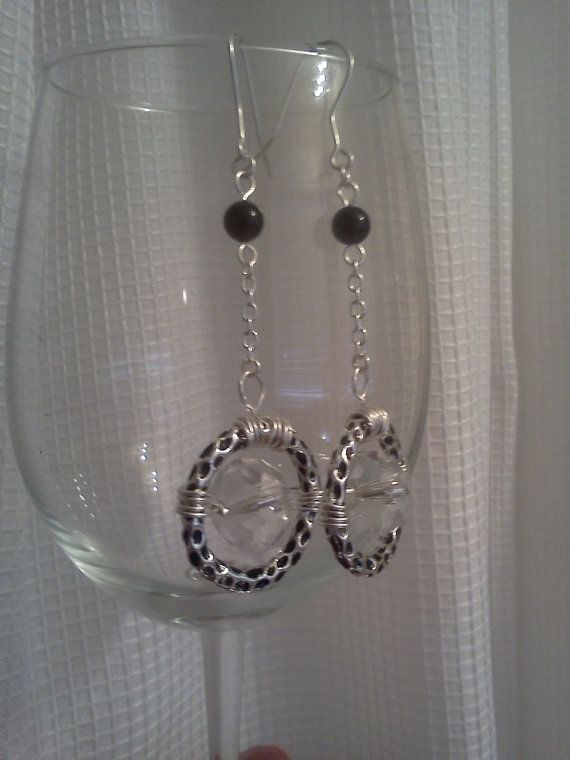 Silver and Black Clear RingDrop Earrings by ReneaRenee on Etsy, $16.00