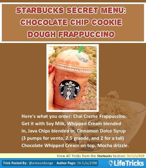 Starbucks Secret Menu: Chocolate Chip Cookie Dough Frappuccino