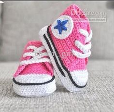 Pink crochet converse baby shoes