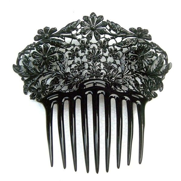 French Jet Hair Comb Victorian Mourning Boxed Hair Accessory