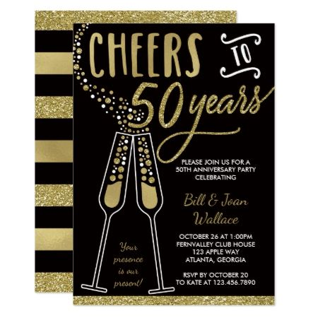 50th Wedding Anniversary Invitation, Faux Glitter Card - click/tap to personalize and buy