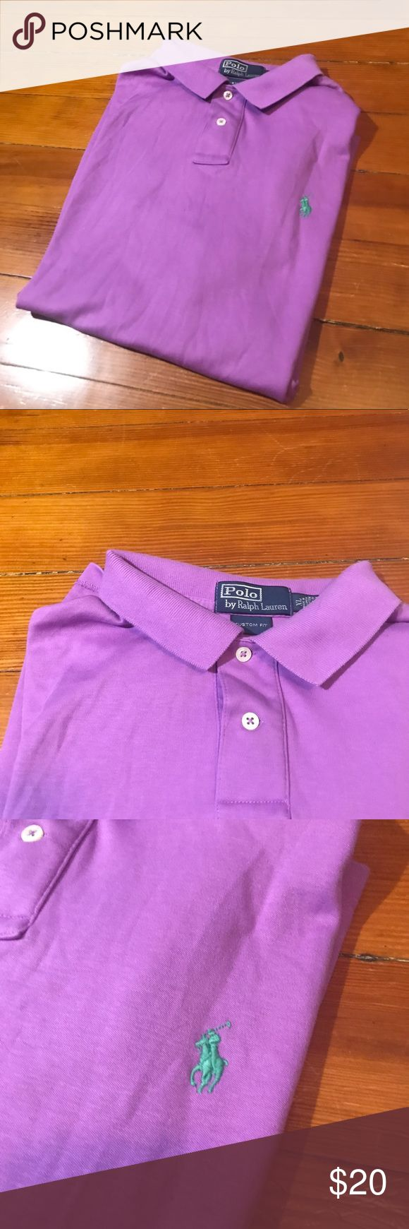Men's Purple & Teal Ralph Lauren Polo Men's purple with teal Ralph Lauren logo. Size XL Polo by Ralph Lauren Shirts Polos