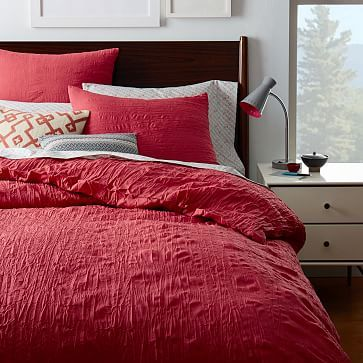 Crinkle  Duvet Cover + Shams #westelm in Orchid (red) to go with Chloes' Grinch sheet set OR for my bed.