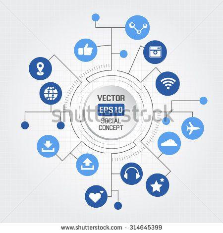 Big circle social concept - stock vector