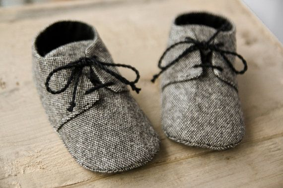 Baby boy GREY or BROWN tweed shoes, wool fabric oxford shoes, booties, sneakers. lace up shoes, little man shoes