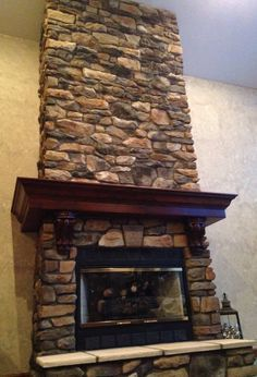 wrap around fireplace mantel. Stone Fireplace  I like the wrap around mantle in dark wood 12 best images on Pinterest Fire places