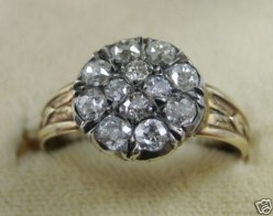 Georgian 1ct Old Cut Diamond 18ct Gold Cluster Ring - Antique Jewellery from Laurelle