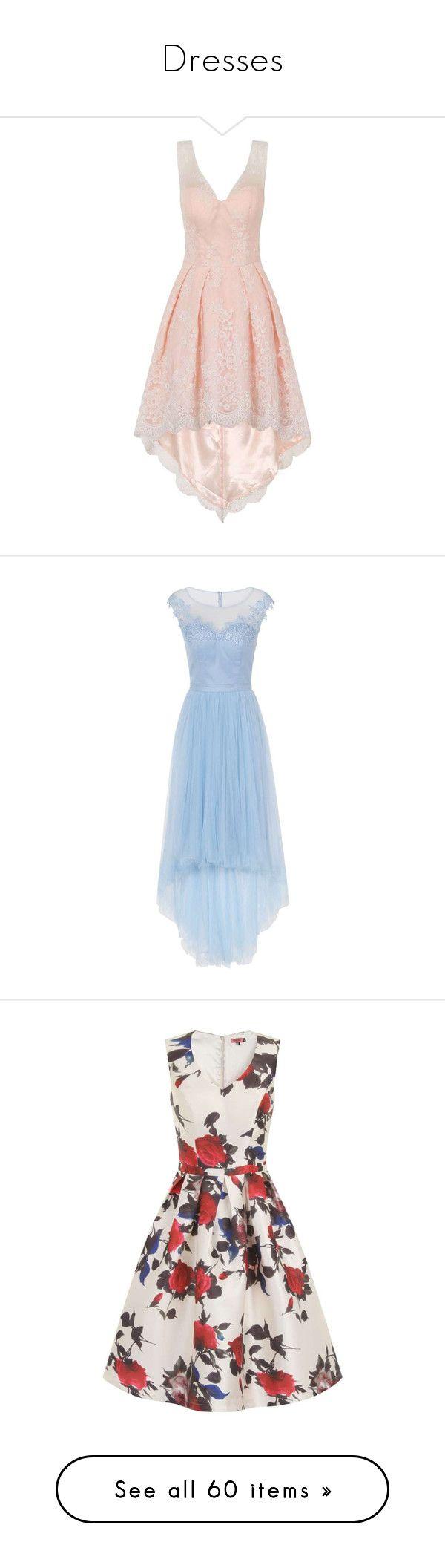 """Dresses"" by unicorn8cupcake ❤ liked on Polyvore featuring dresses, pink, mid calf dresses, pink dress, calf length dresses, full skirt midi dress, mullet dresses, blue, sheer dress and blue color dress"