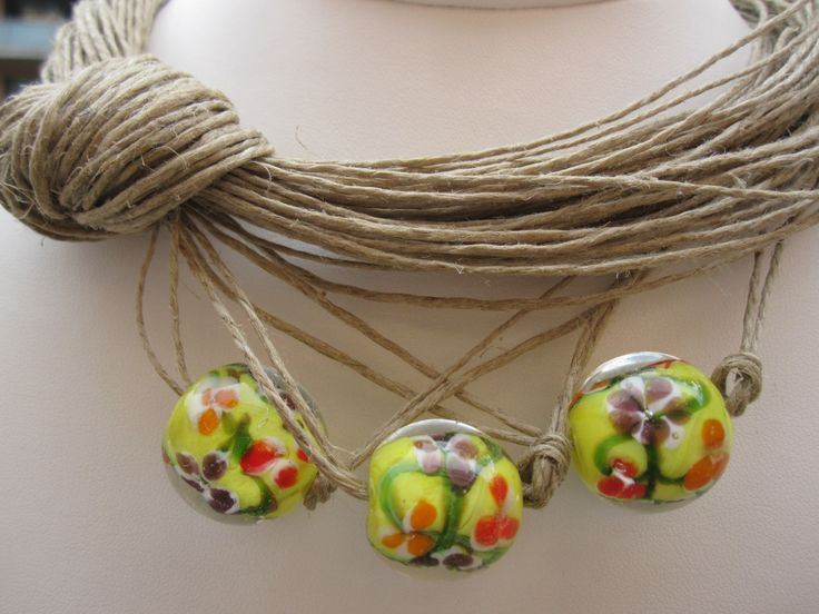 Necklace Natural Linen Eco-Friendly Knots Yellow Red Glass Esphere Mediterranean Style Handmade by espurna88 on Etsy