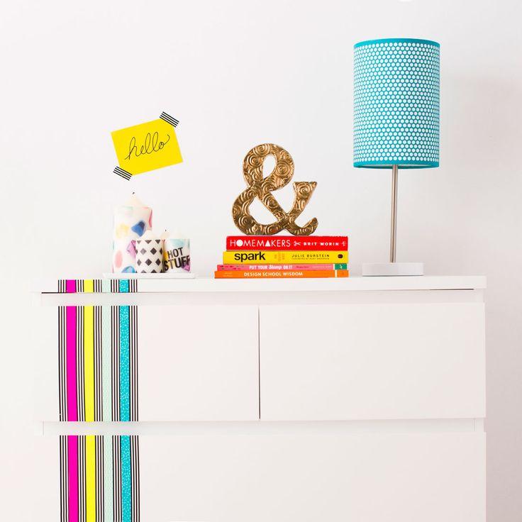 Use washi tape to brighten up plain, basic furniture.