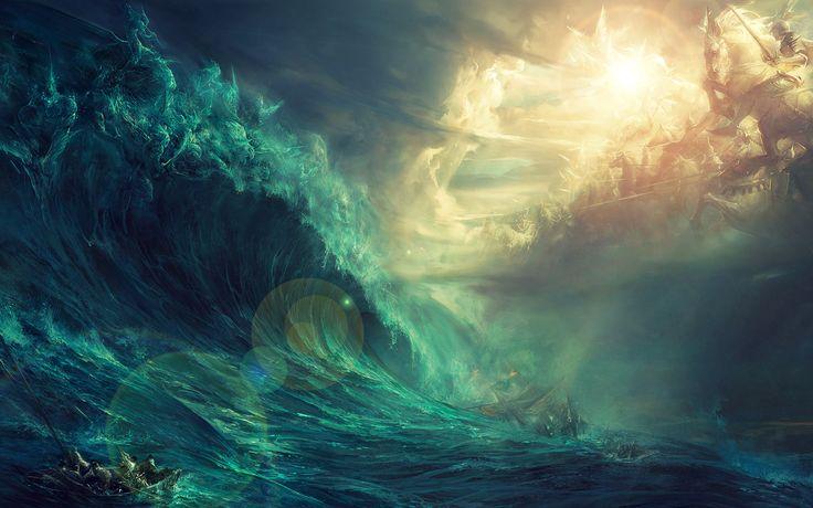 Epic Gods of Land vs Sea Wallpaper - http://digitalart.io/epic-gods-land-vs-sea-wallpaper/