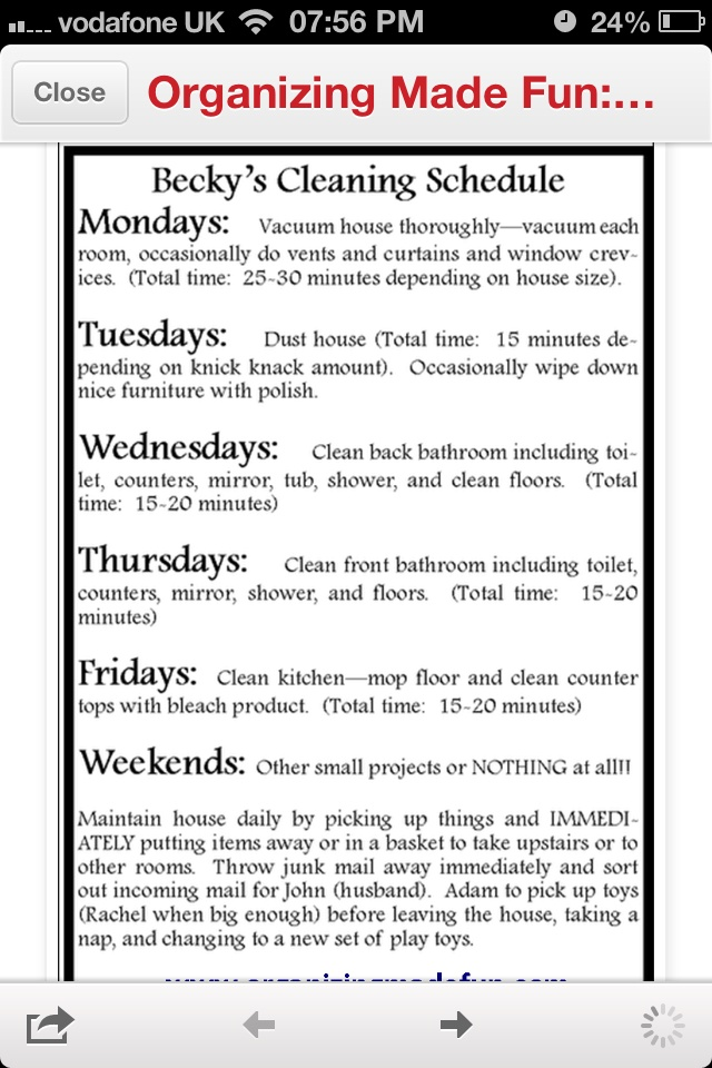 Weekly cleaning rota