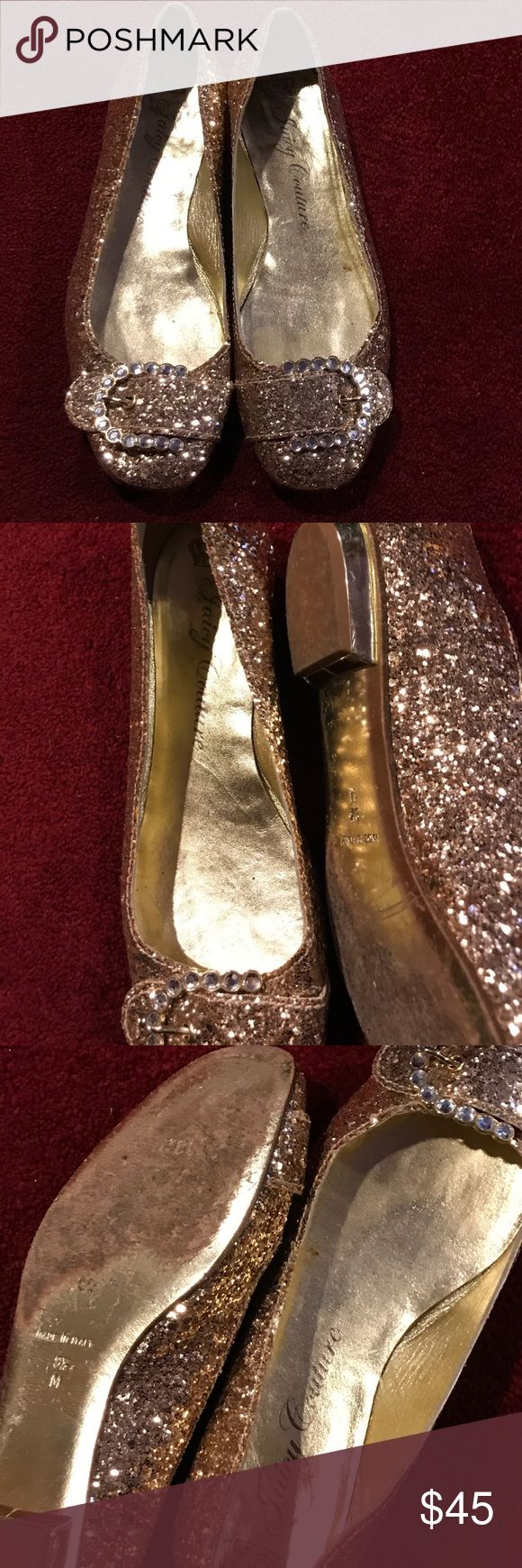 Juicy Couture.    Gold Flats.  $$$45 Gold studed rinestone flats     Good condition.   Very nice Juicy Couture Shoes Flats & Loafers