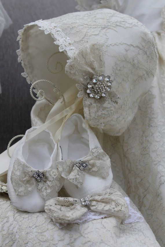 Christening Heirloom Lace Gown and by ElenaCollectionUSA on Etsy