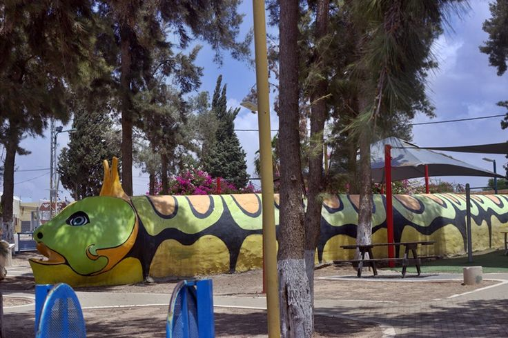The colorful snake in a childrens playground, in Sderot, is actually a shelter, where kids can run into, if there is a missile alert.