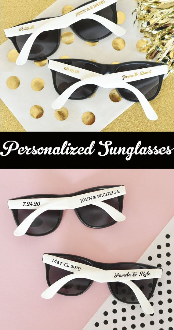 Beach Wedding Favor Sunglasses are great ideas for an outdoor beach theme wedding ceremony! These stylish wedding sunglasses are a great idea for a destination wedding - if your ceremony is outdoors place a set of sunglasses on each chair to shade guests from the sun - each black pair of sunglasses with white handles or hot pink handles comes with personalized CLEAR labels printed with either black text or metallic gold text - labels are provided for both sides so for a set of 24 sunglasses…