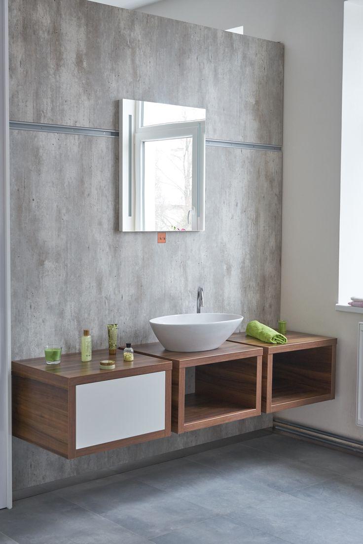 Minimalistická koupelna Storm - koupelnová skříňka s Nikou a originálním umyvadlem potěší každého milovníka designových interiérů a stylových koupelen