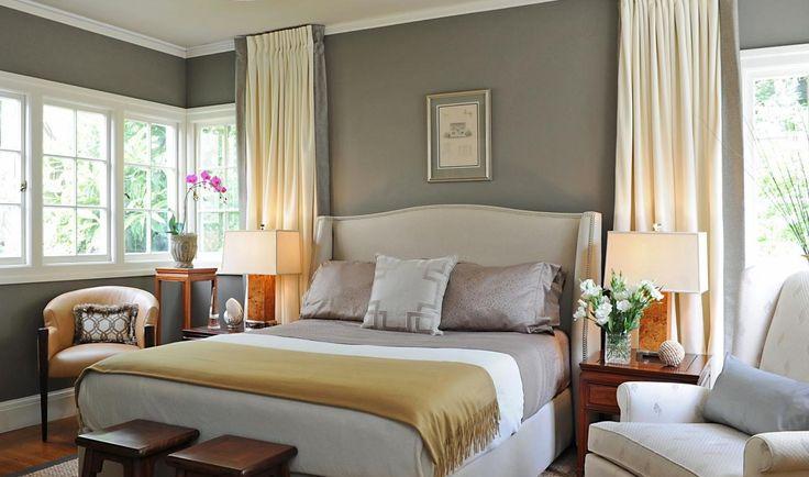 Camera da letto con pareti grigio tortora