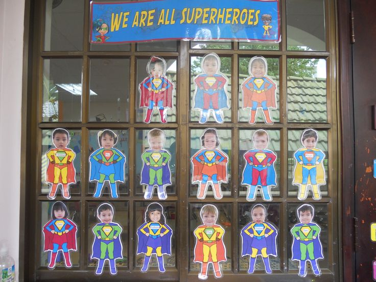 """Superhero Bulletin Board - add """"what's your superpower"""" and have the kids write something they are good at"""