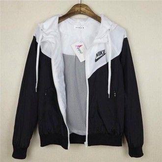 jacket nike windbreaker black and white blue withe black white coat nike…