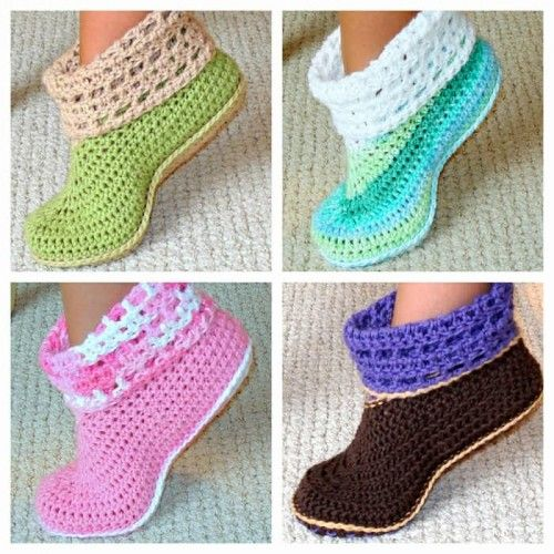 Crochet Pattern Cuffed Boots Slippers in Women and Kids Sizes PDF 12 | Genevive - E-books on ArtFire