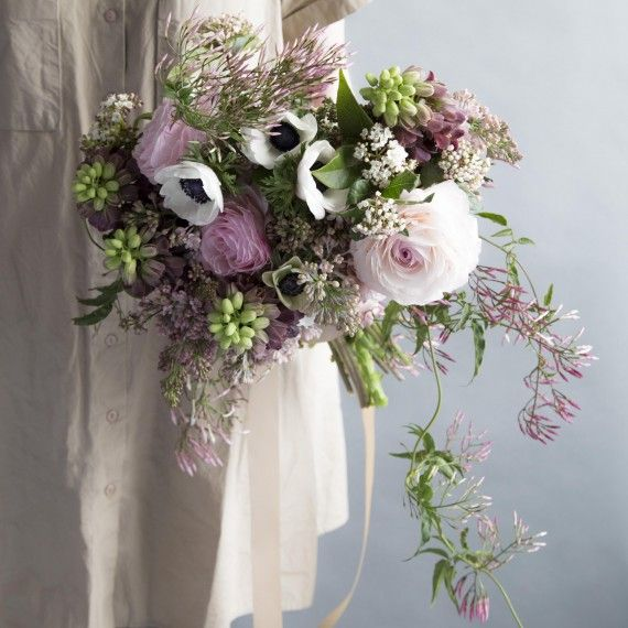 Bright Bouquets for Every Type of Bride | Martha Stewart Weddings - Lavender & Green Glamour Bouquet