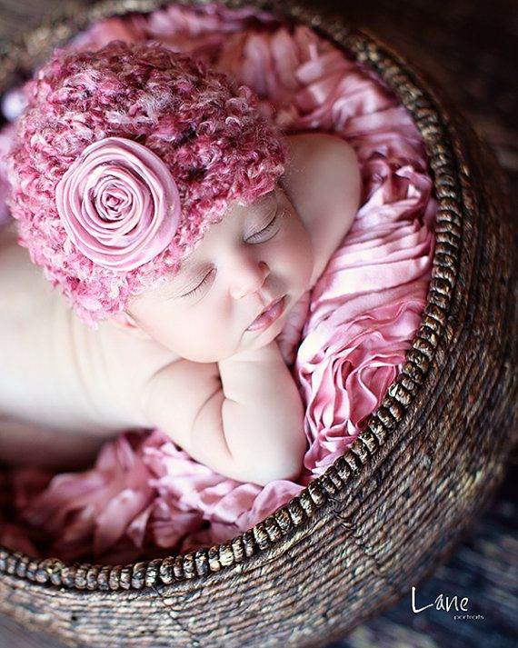 Newborn Baby Girl Flower Crochet Hat in Pink, Great for Photo Prop!