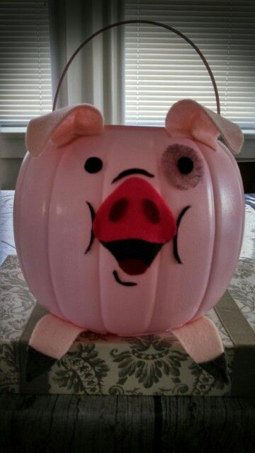 Gravity Falls Mr Waddles Treat Bag. Made from a plastic pumpkin treat pail.