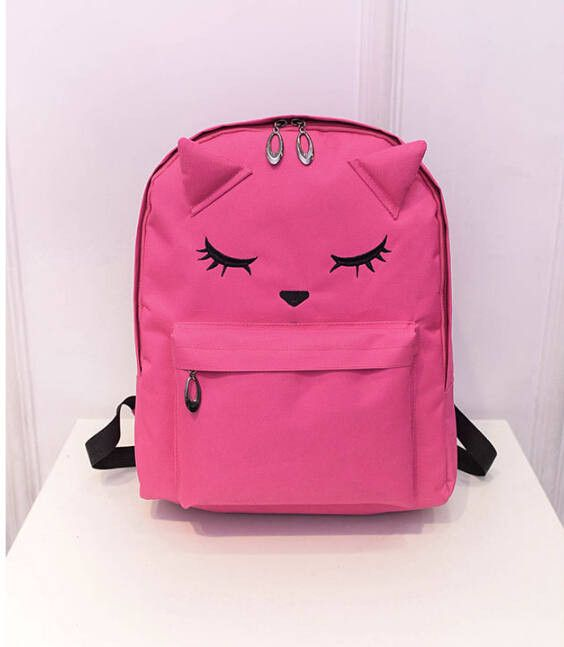Super Cute Cartoon Embroidered Cat Ear Print Quality Large-Capacity Backpack 3 Colors