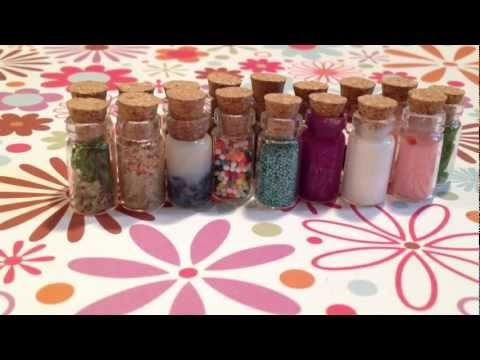 Mini bottle charms! Great ideas for what to put into those bottle necklaces. Her descriptions aren't that creative, but if you ignore what she's saying and just look at the bottles its quite inspirational if you're having trouble figuring out what to put in those things.
