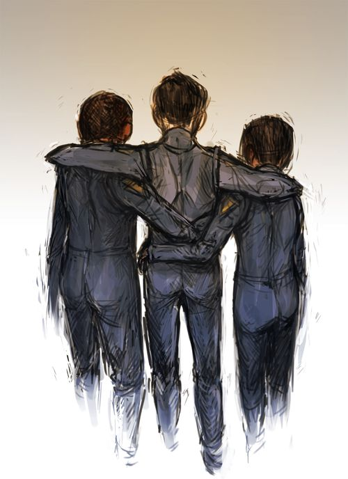 im just going to assume this is ender, petra and bean because i want it to be them... reminds me of the hug he gave them after the war on Eros